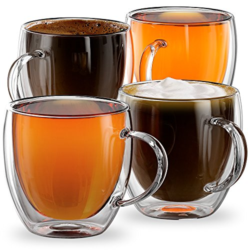 8.5oz Milano Collection - Set of 4 - Double walled mugs with Handles