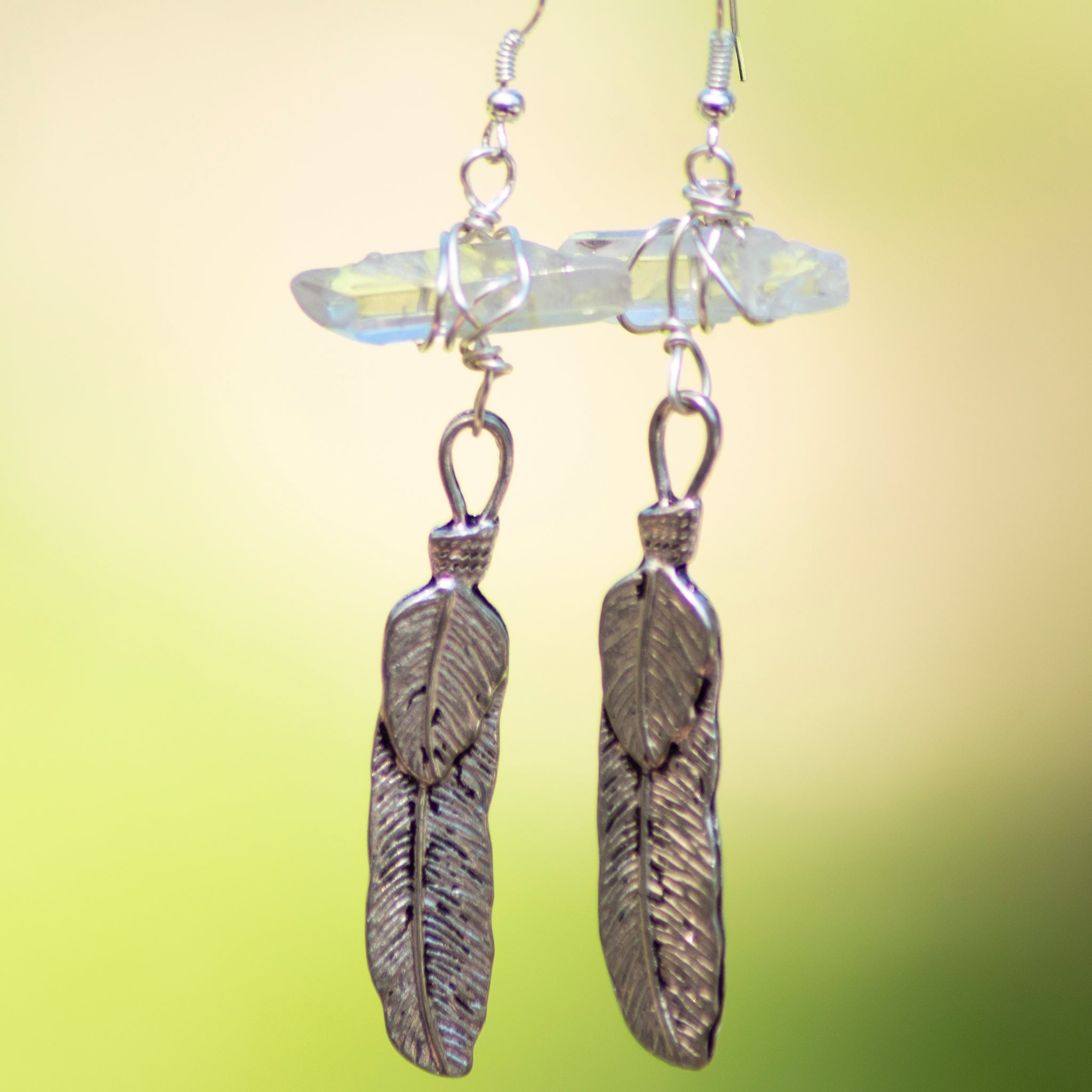 Feather Quartz Crystal Earring