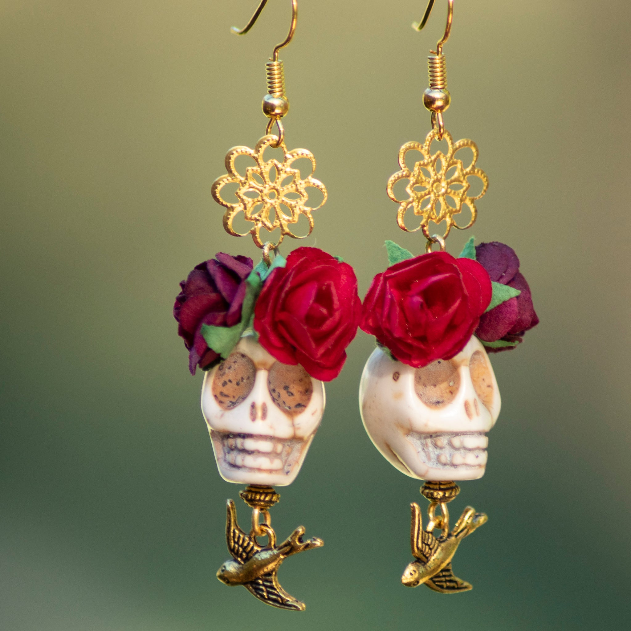 Cream Skull & Red Flowers Earrings