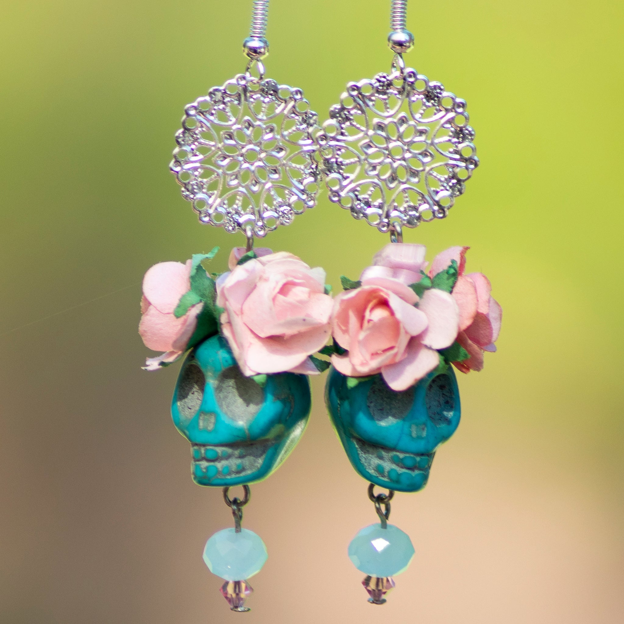 Aqua Skull Earrings