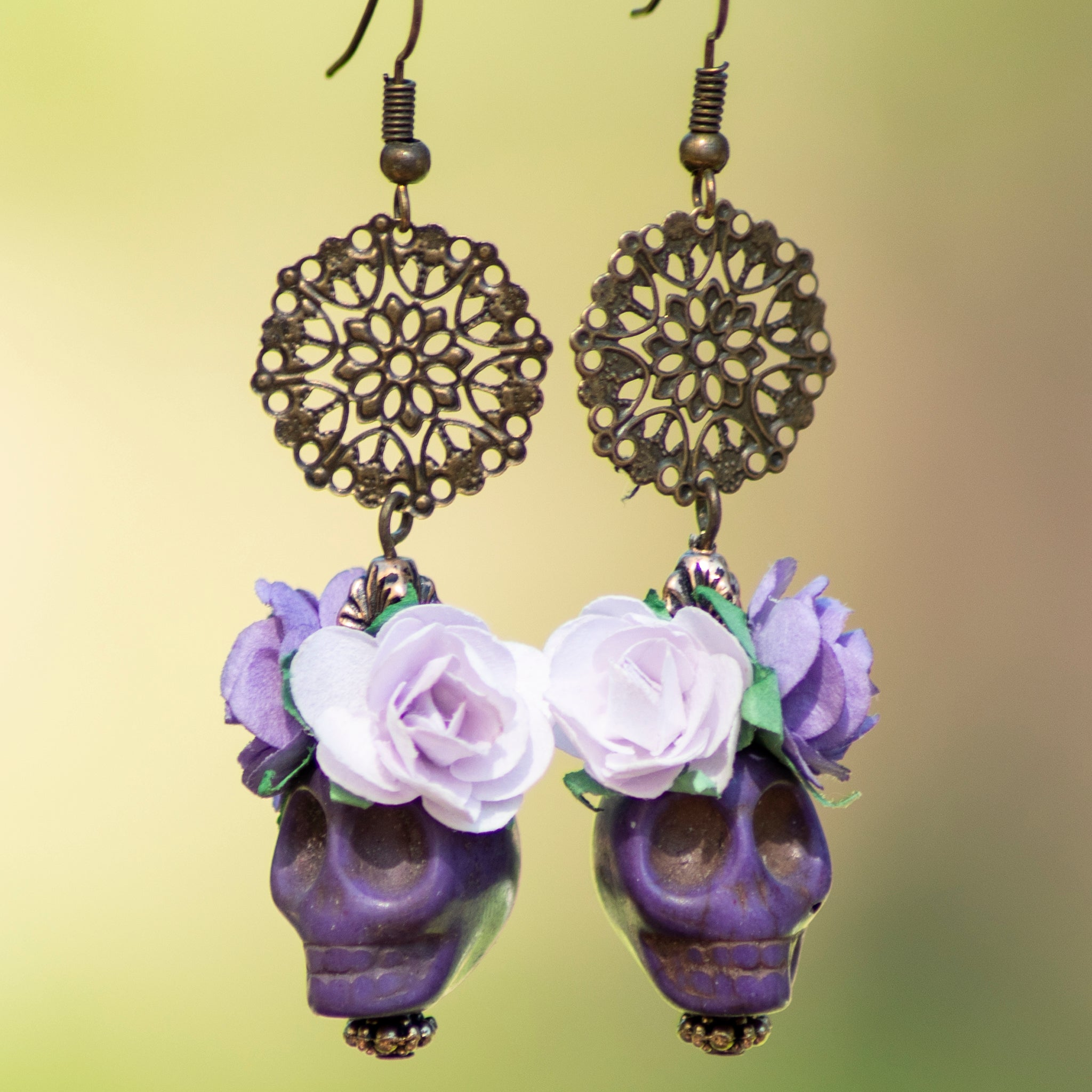 Lavender Skull Earrings