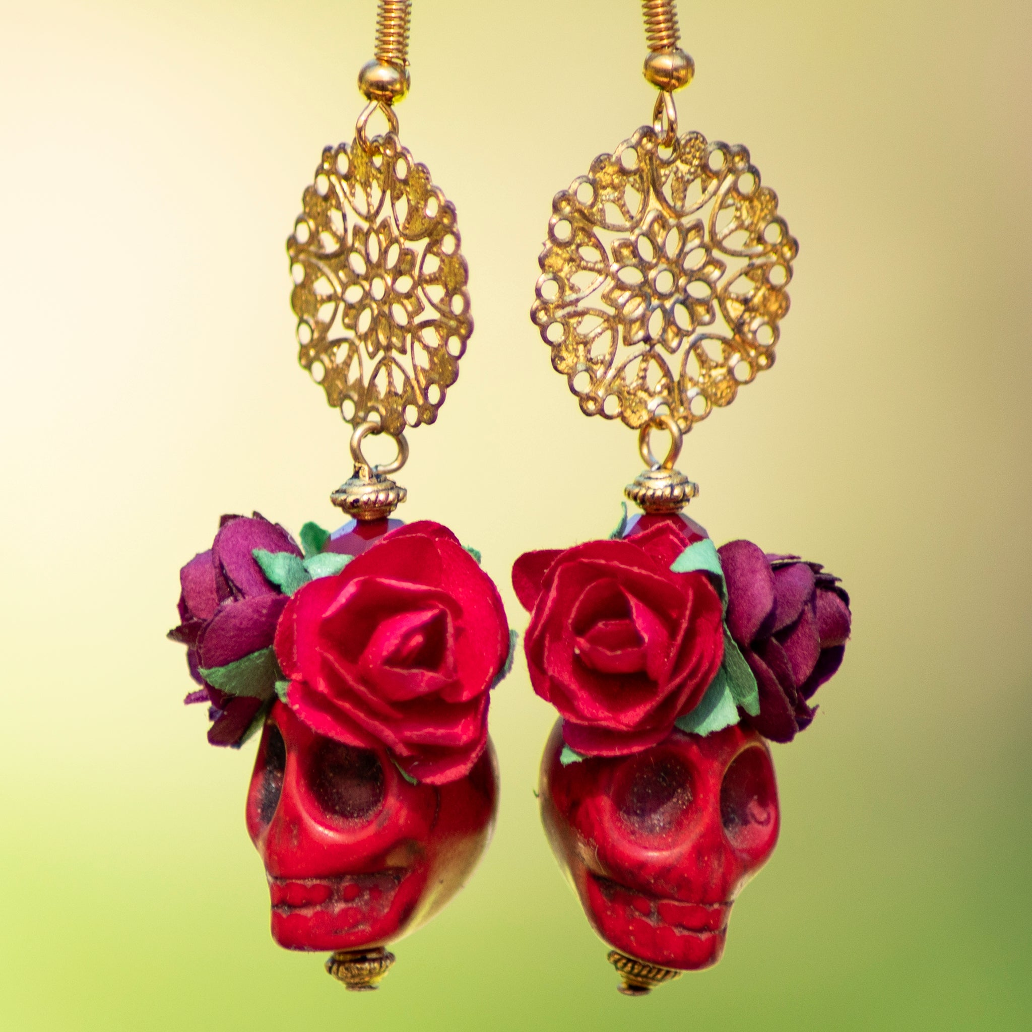 Crimson Skull Earrings