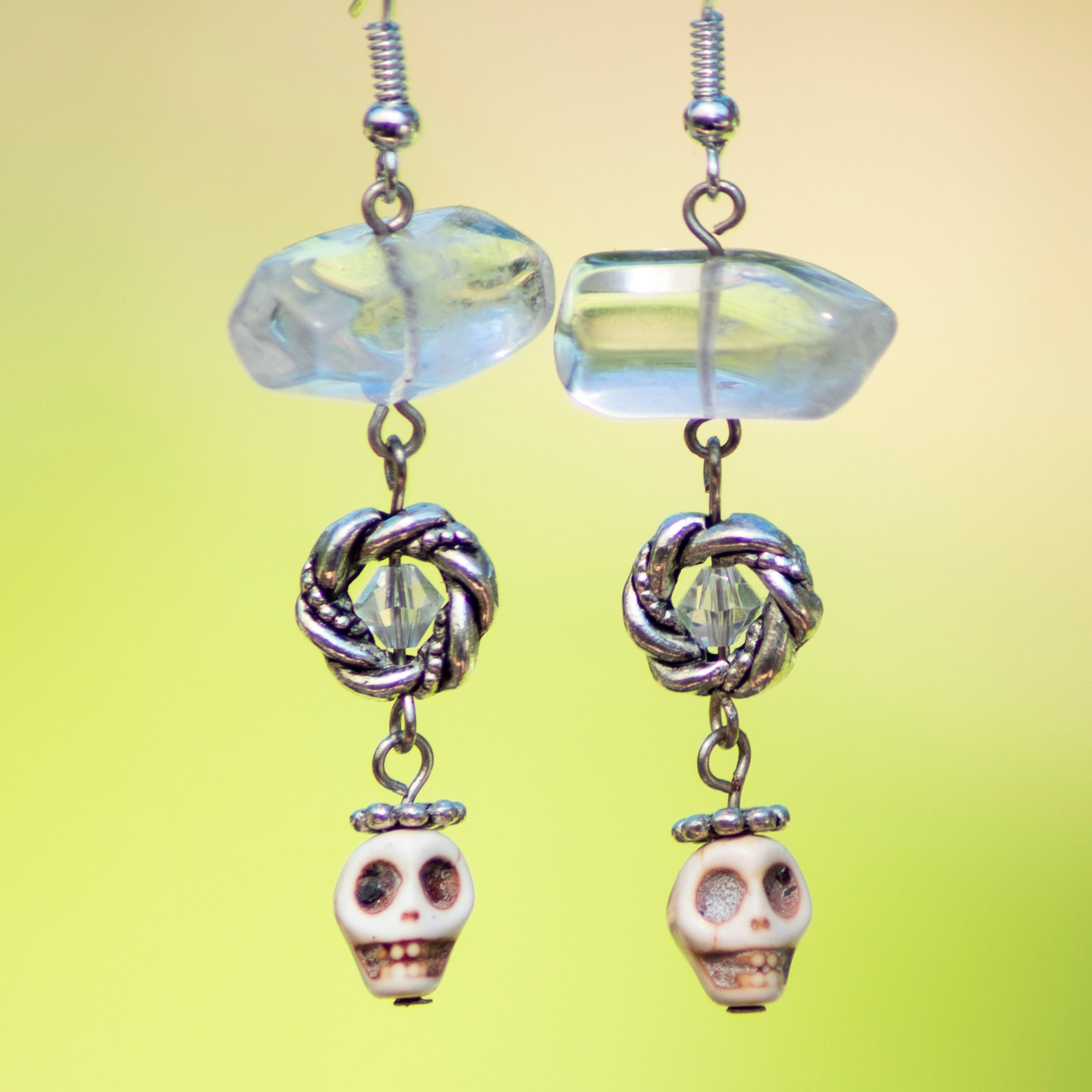 Quartz Crystal & Skull Earrings