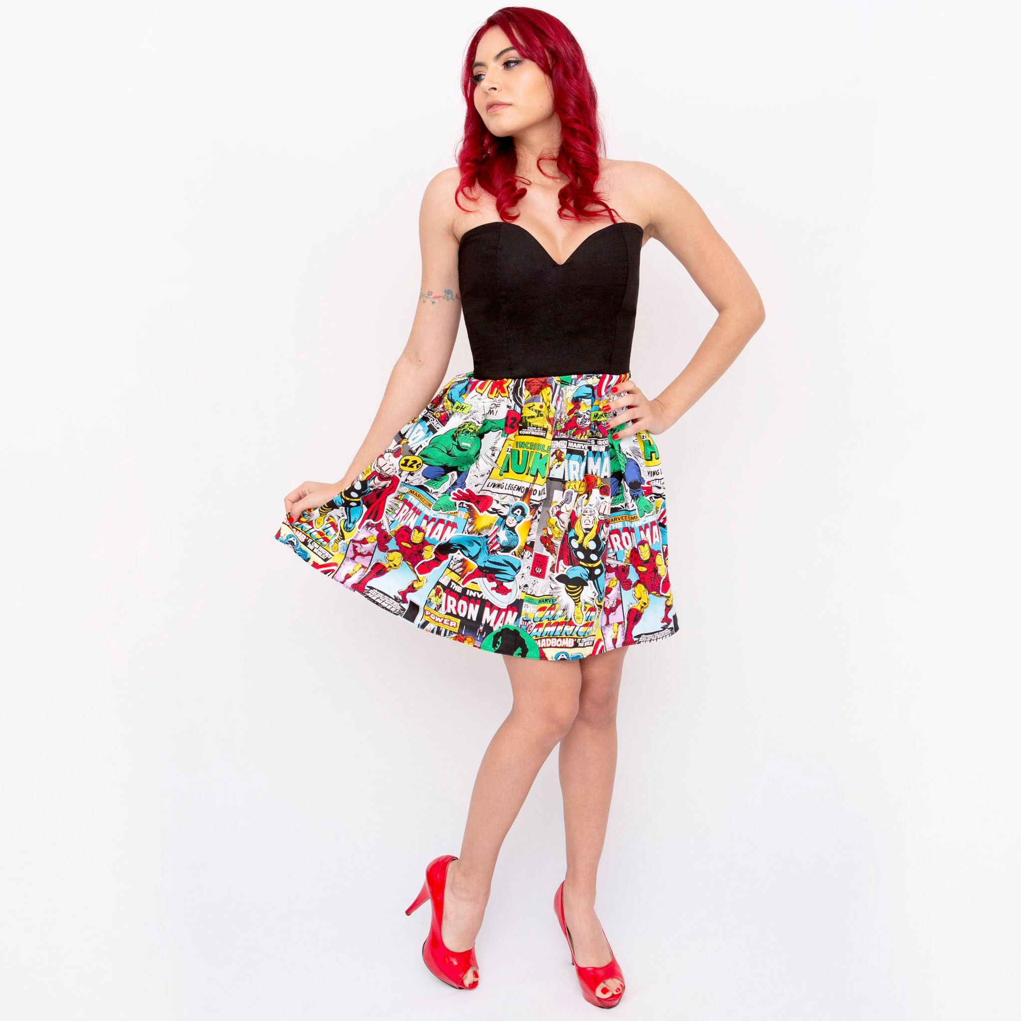 Marvel Comic Half Print Sweetheart Dress