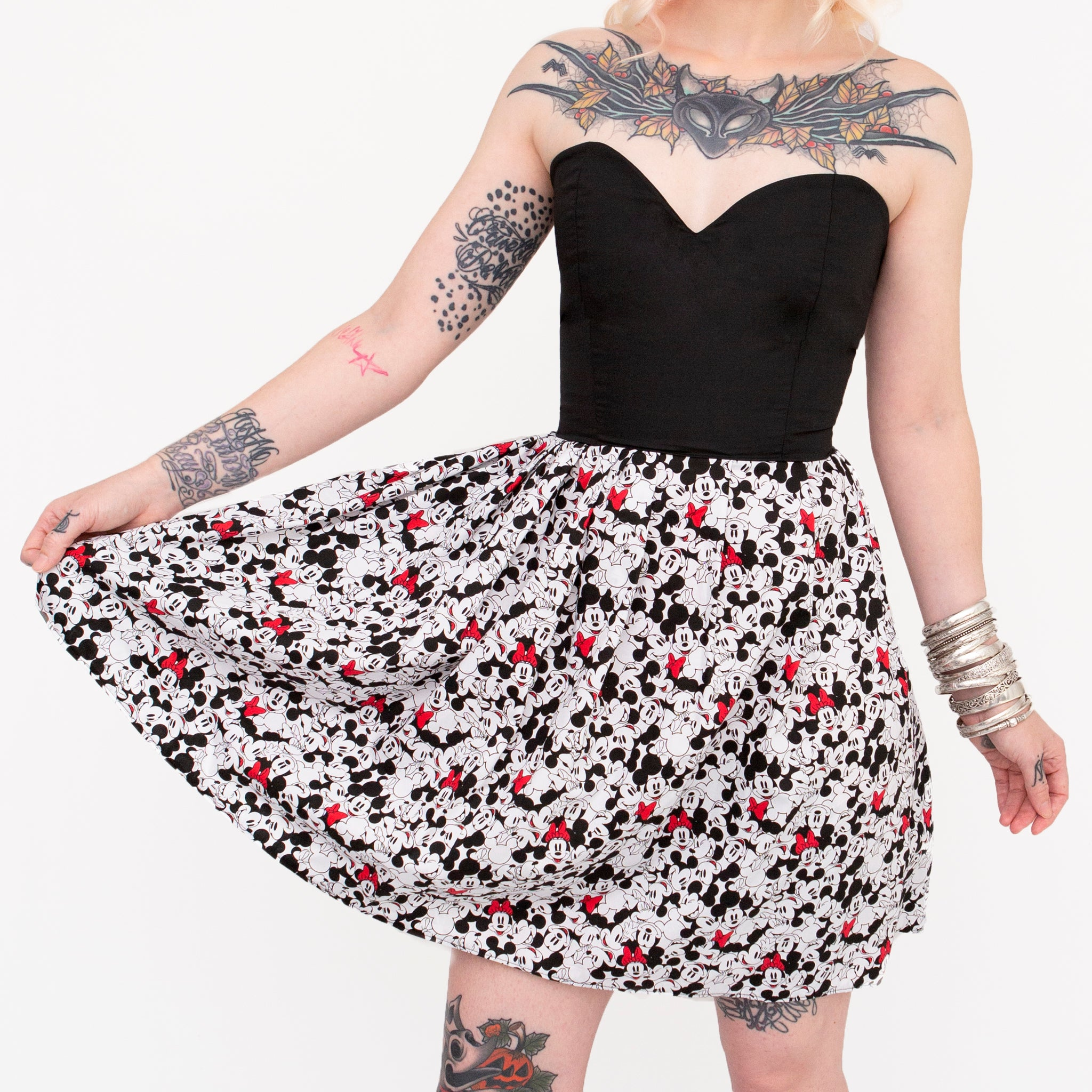 Minnie & Mickey Mouse Half Print Sweetheart Dress