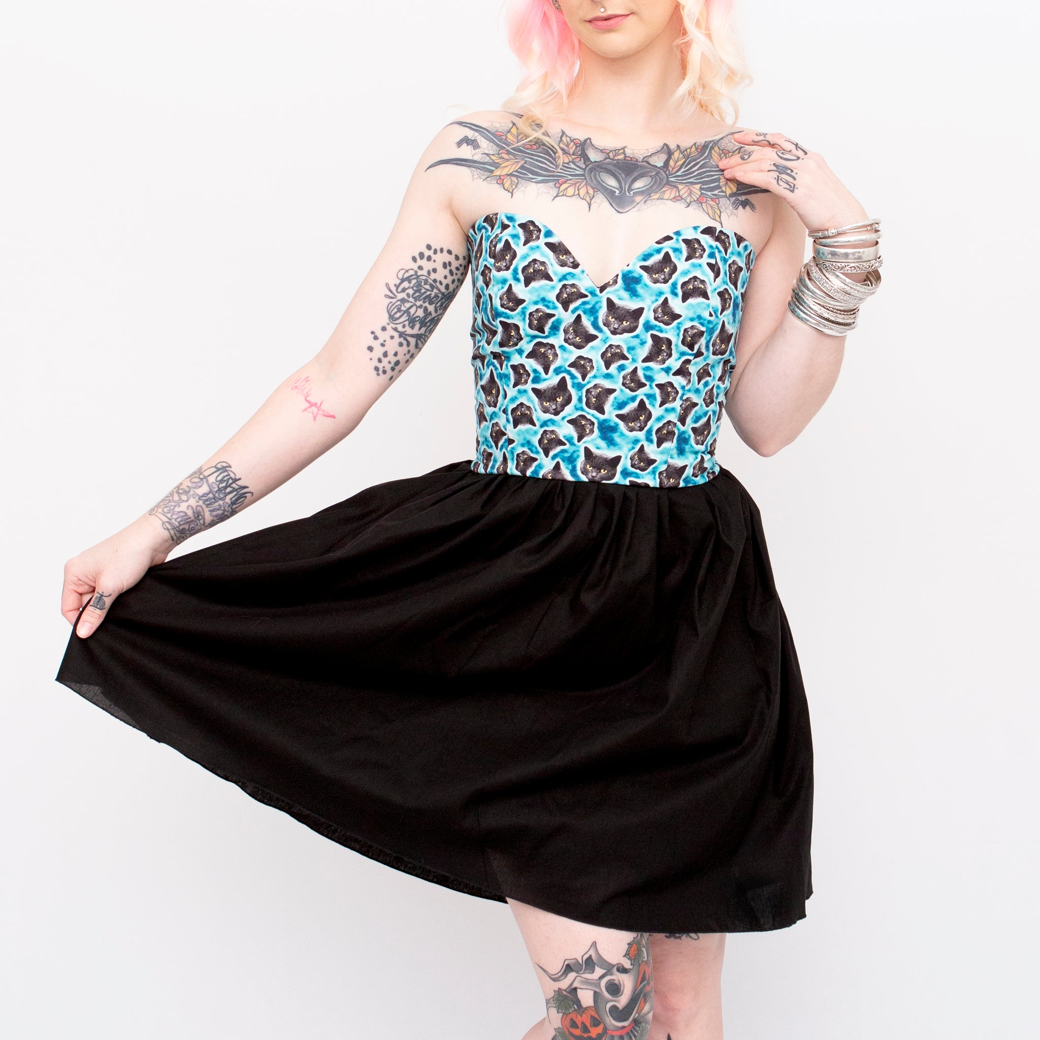 Glow in the Dark Cat Half Print Sweetheart Dress