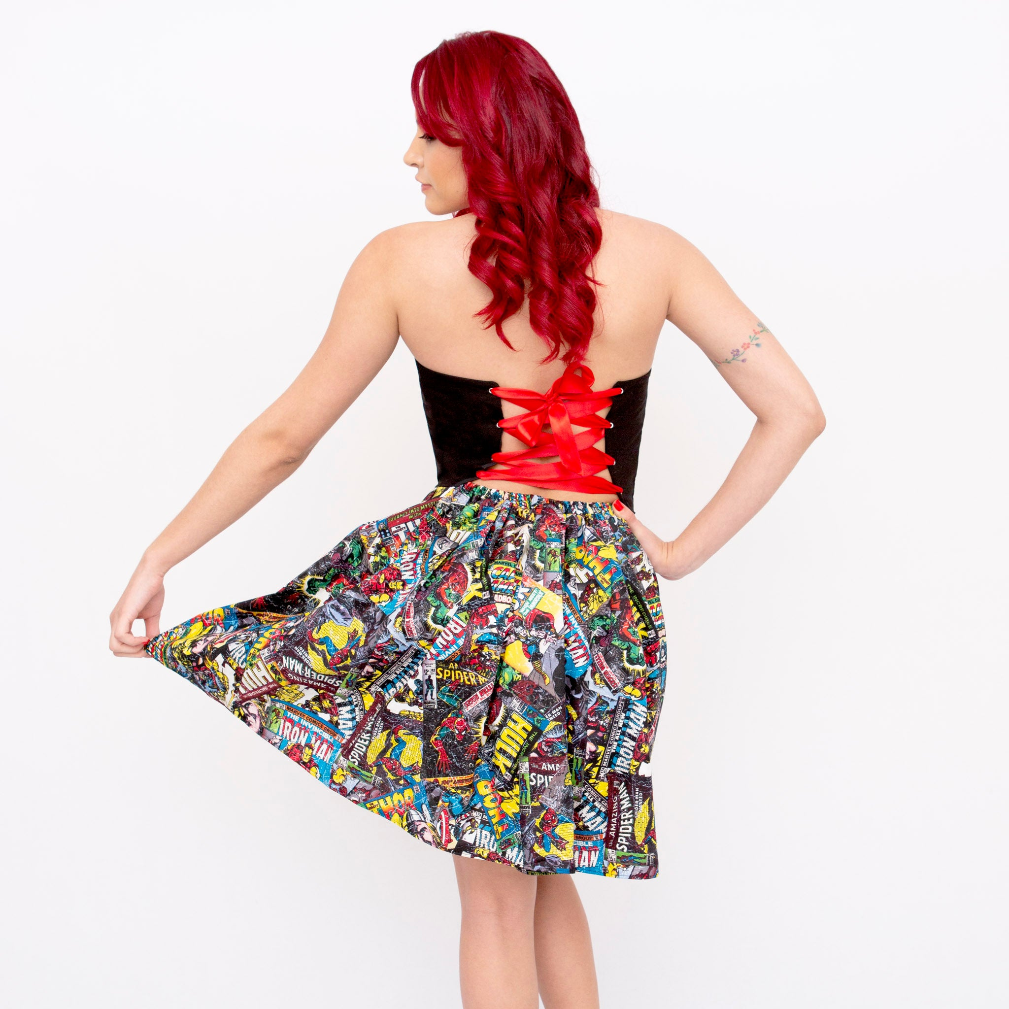 Marvel Comic Card Half Print Sweetheart Dress