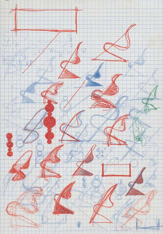 """Some of Pantone's documented sketches of his iconic Panton Chair, at the time called the """"S"""" Chair."""