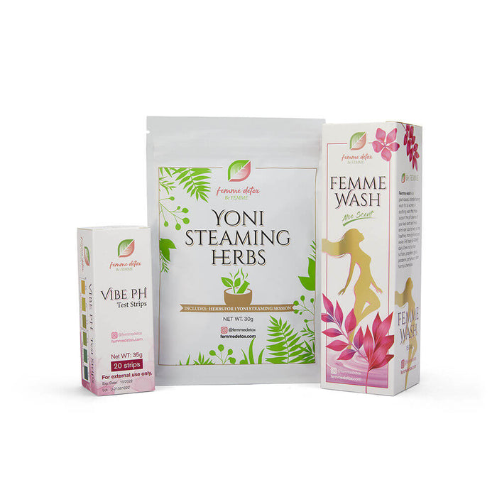 Femme Detox Blossoming Refill Kit with Vibe pH Strips, Yoni Steaming Herbs and Femme Wash