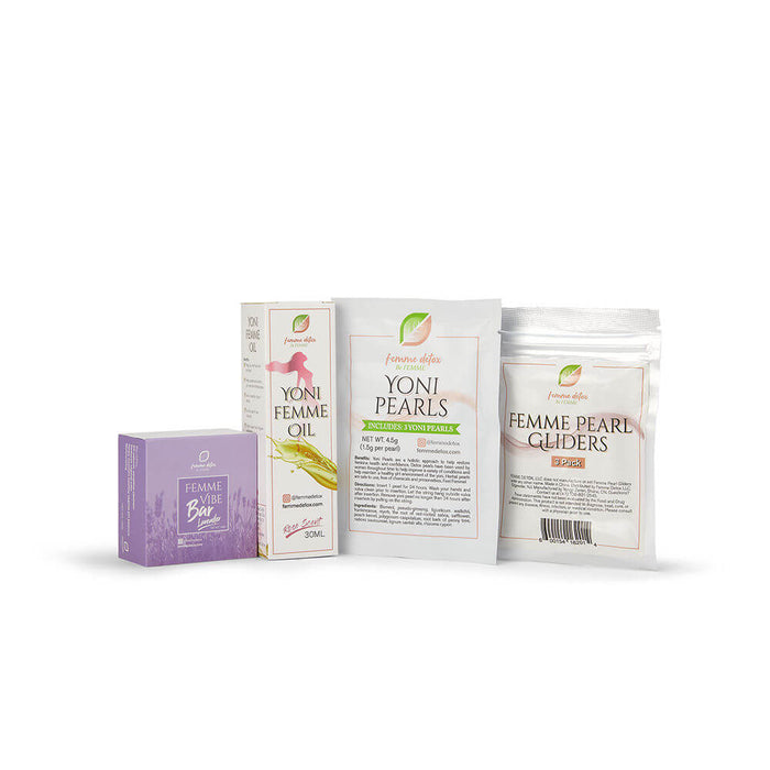 Femme Detox Refresh Bundle Includes: (1) Yoni Oil, (1) Yoni Pearls, (1) 3pk Gliders, (1) Lavender Yoni Soap