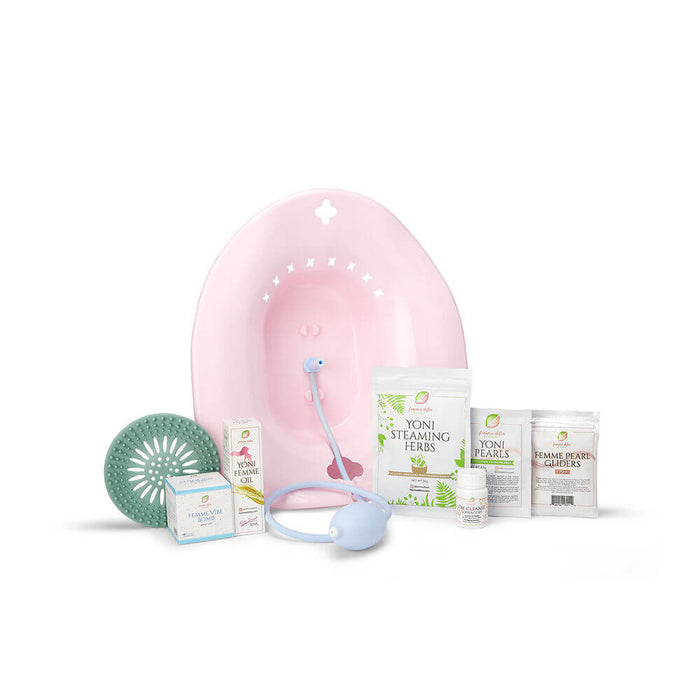 Femme Detox Relax Bundle Includes: (1) Yoni Oil, (1) Yoni Pearls, (1) 3pk Gliders, (1) Yoni Bath Bomb, (1) Herb Catcher, (1) Vibe Cleanse Suppository, (1) Steaming Herbs, (1) Steaming Seat