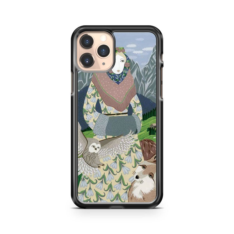 Lady With An Owl And A Dog iPhone 11 Pro Case Cover