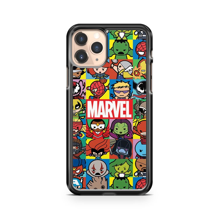 Marvel Characters Collage Kawaii Chibi Cute Avengers Groot iPhone 11 Pro Case Cover
