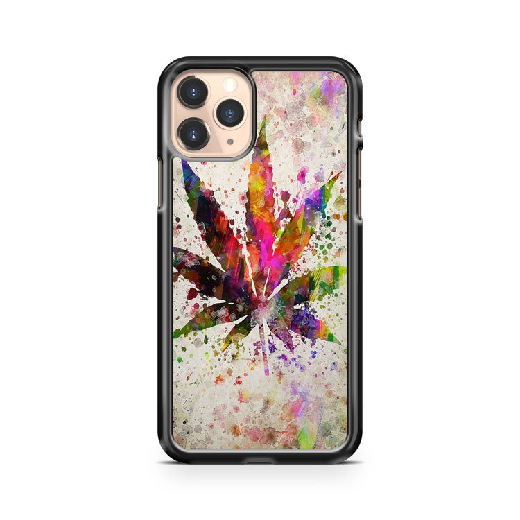 Marijuana Leaf In Color Aged Pixel iPhone 11 Pro Case Cover