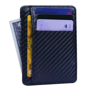 Men's Navy Leather Card Holder