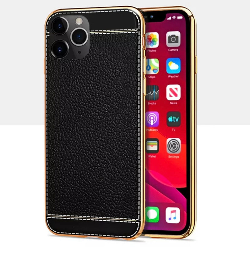 Black Leather iPhone X-Xr case