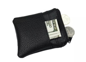 Black Leather Coin/Card/Cash Wallet
