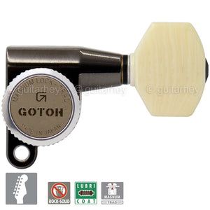 NEW Gotoh SG360-M07 MGT 6 In-Line MAGNUM Locking IVORY STYLE Buttons COSMO BLACK