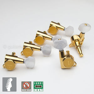 NEW Gotoh SG381 Tuners Set 6 in line Keys PEARLOID Buttons Right Hand - GOLD