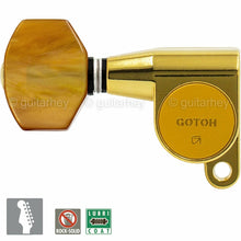 Load image into Gallery viewer, NEW Gotoh SG360-P8 LEFT-HANDED 6-In-Line Mini Tuning Keys LEFTY TREBLE SIDE GOLD