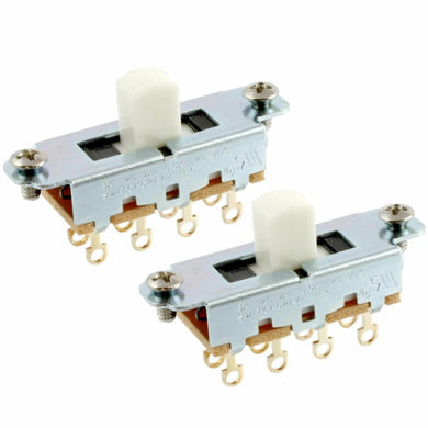 NEW (2) Switchcraft® On-Off-On Slide Switch for Fender Mustang® - White Knob