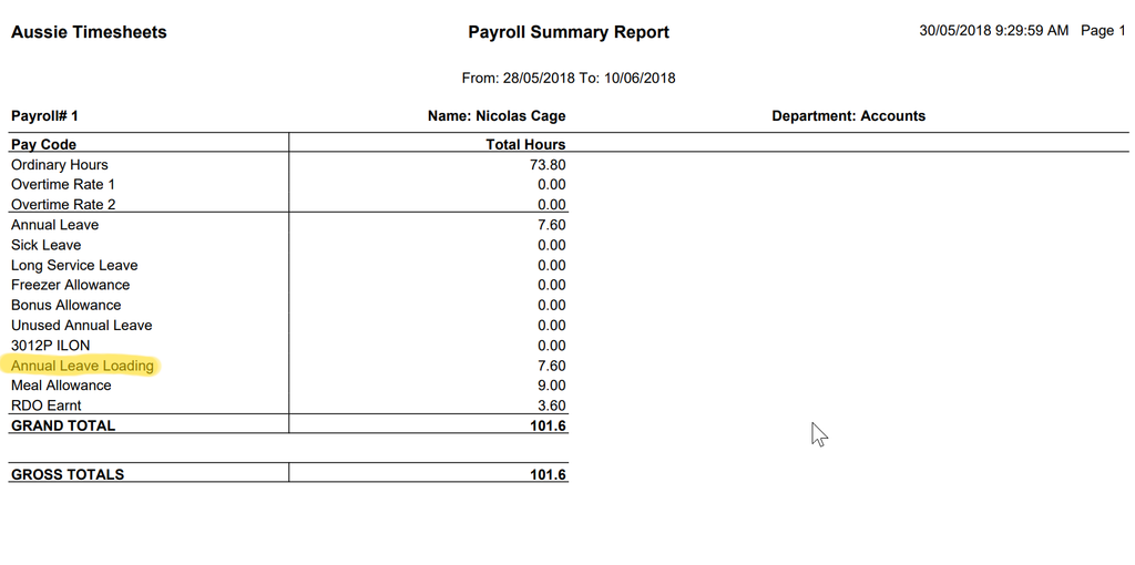 Aussie Time Sheets Payroll Report