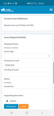 Leave Balance & Leave Request - My Workforce TNA