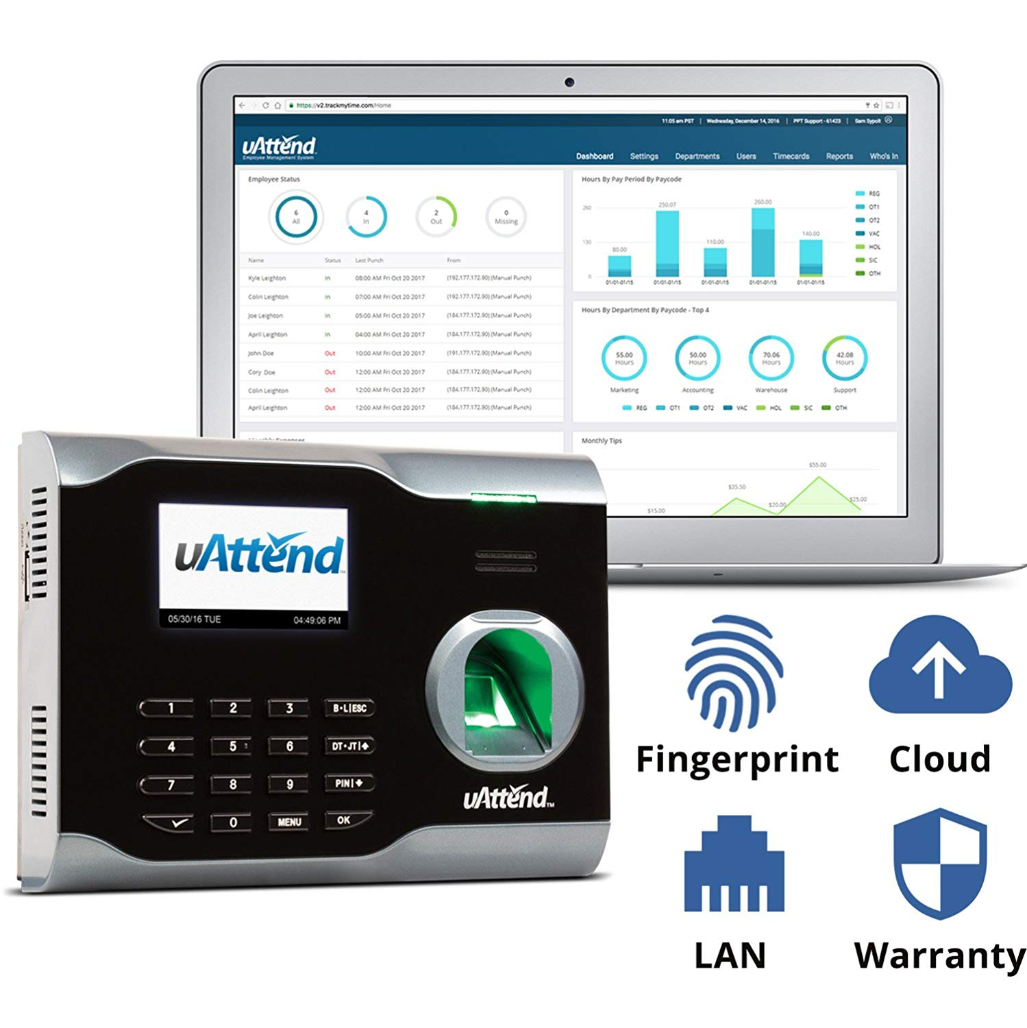 uAttend BN6500 Time Clock, Cloud Time Sheets