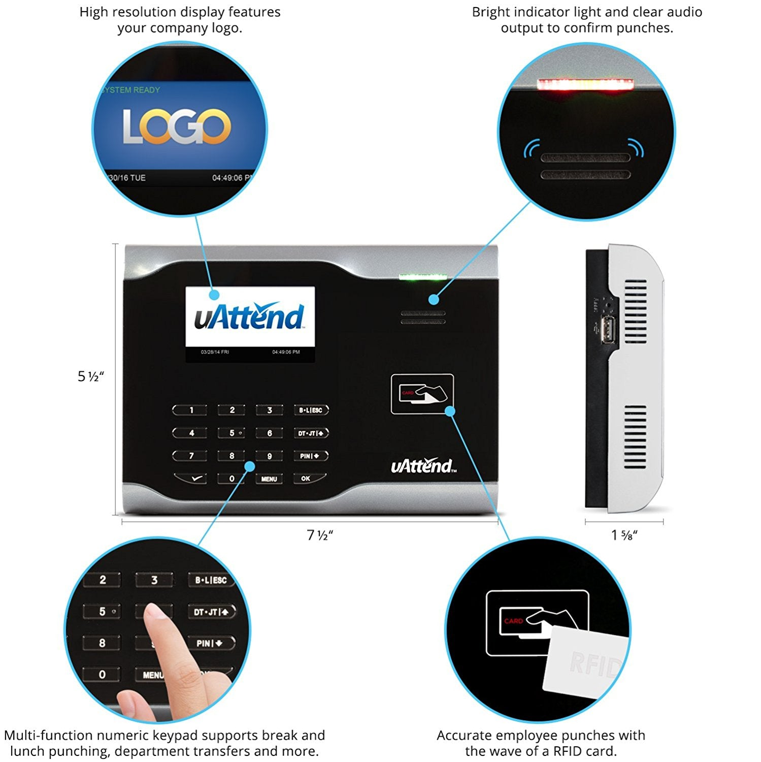 uAttend CB6500 Time Clock, Cloud Time Sheets