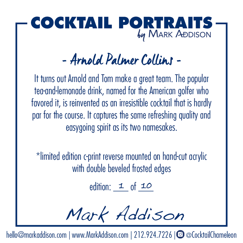 Limited Edition Cocktail Portrait: Arnold Palmer Collins signature plate