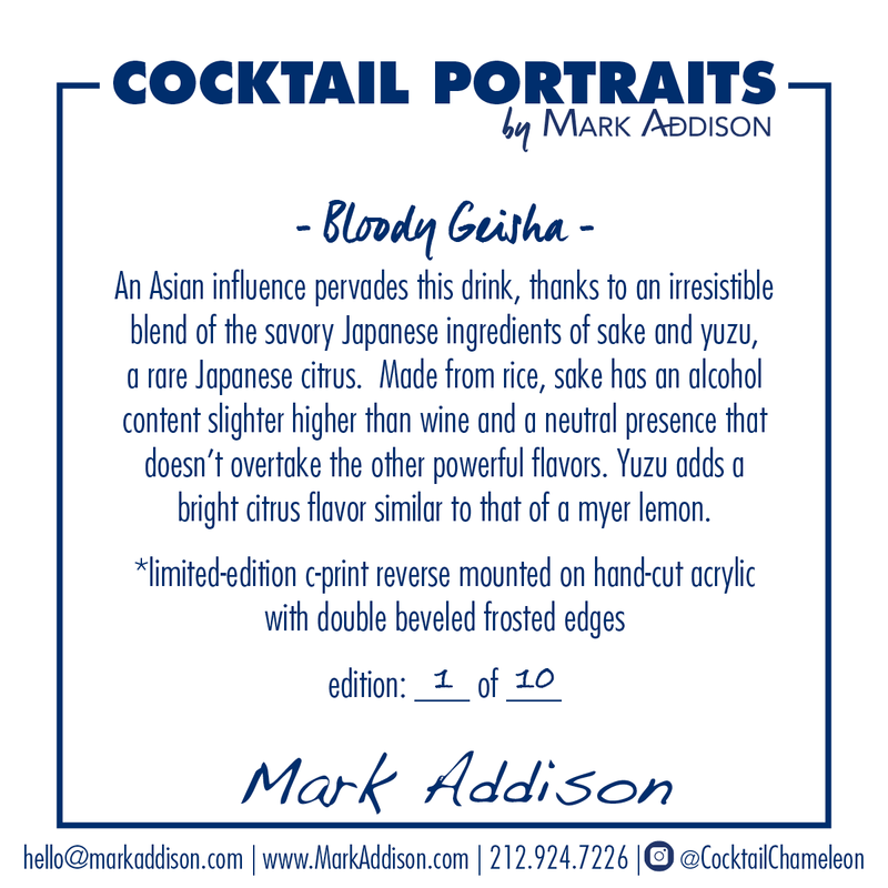 Limited Edition Cocktail Portrait: Bloody Geisha signature plate