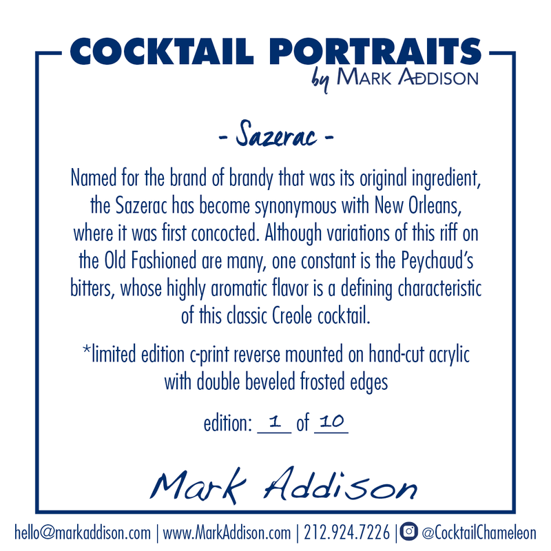 Limited Edition Cocktail Portrait: Sazarac signature plate