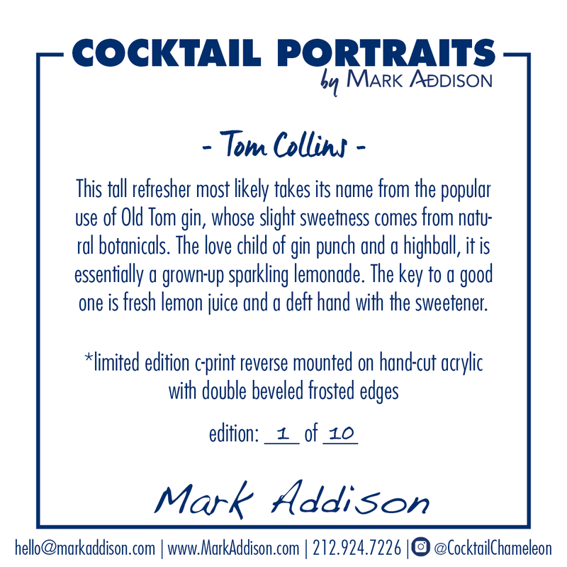 Limited Edition Cocktail Portrait: Tom Collins signature plate