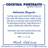 Limited Edition Cocktail Portrait: Watermelon Margarita signature plate
