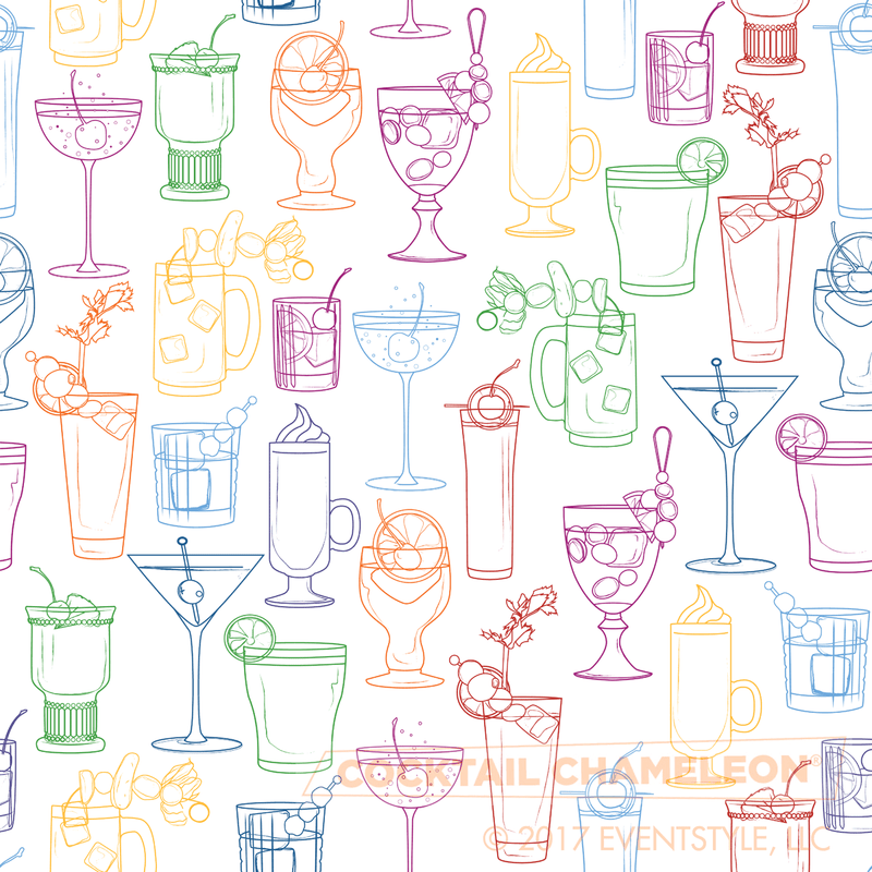 Cocktail Party Wallpaper - Classic White - full pattern