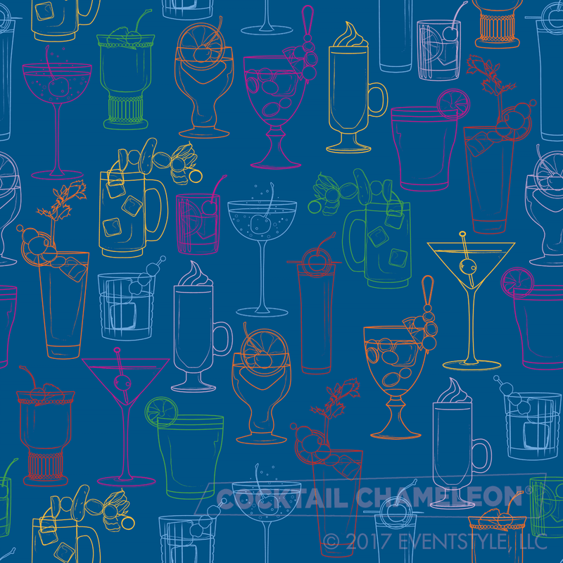 Cocktail Party Wallpaper - Marine Blue - full pattern