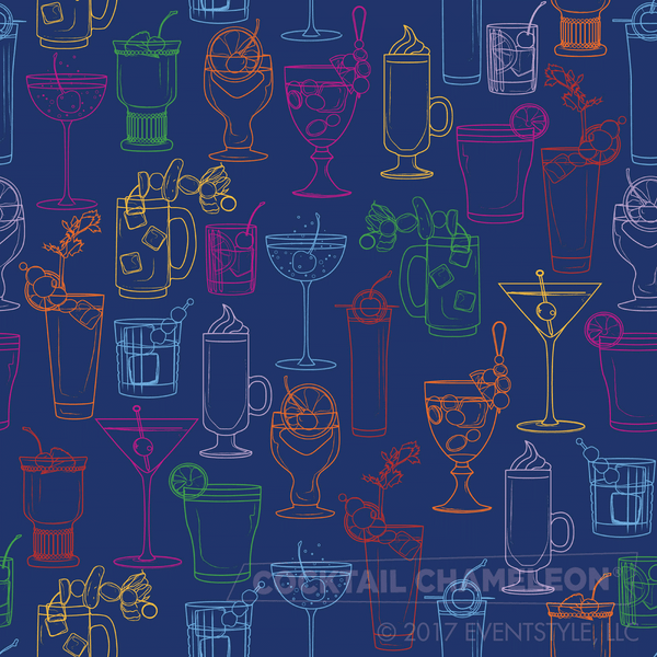 Cocktail Party Wallpaper - Navy - full pattern