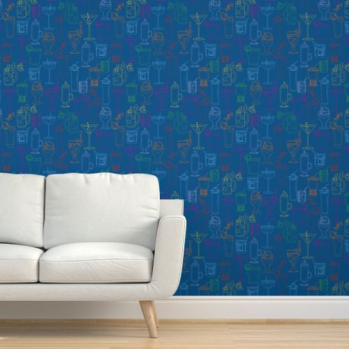 Cocktail Party Wallpaper - Marine Blue - on wall with couch