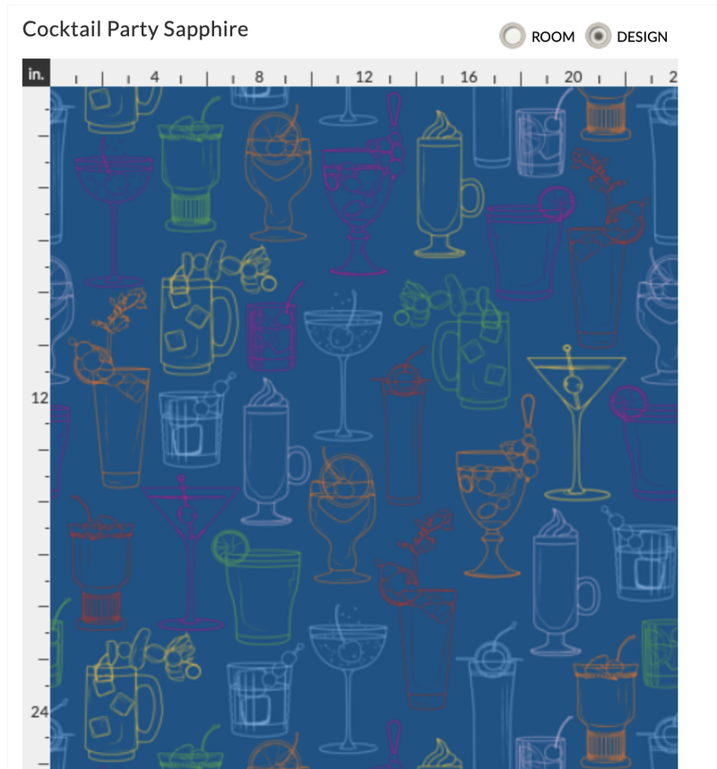 Cocktail Party Wallpaper - Marine Blue - large pattern