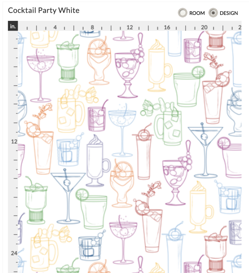 Cocktail Party Wallpaper - Classic White - large pattern