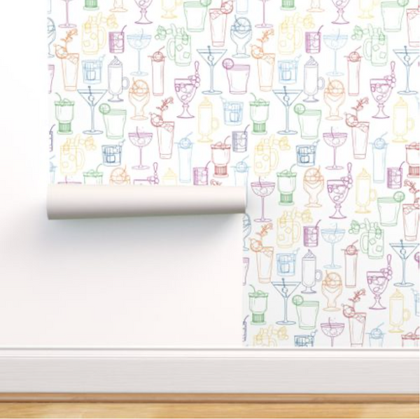 Cocktail Party Wallpaper - Classic White - rolled on wall
