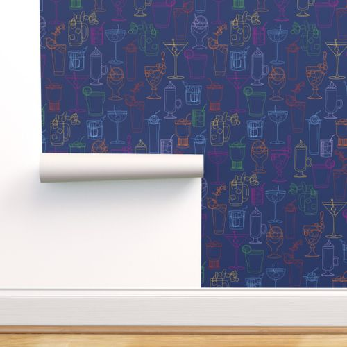 Cocktail Party Wallpaper - Navy - rolled on wall