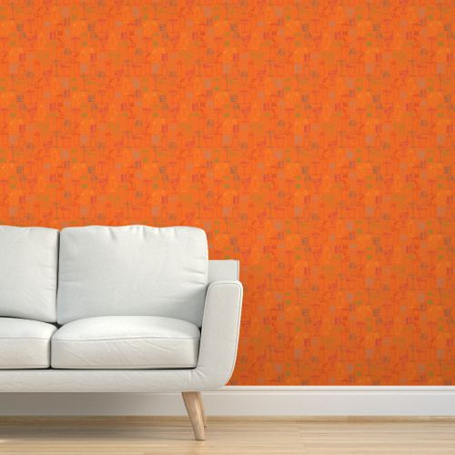 Cocktail Party Wallpaper - Orange Nectar - on wall with couch