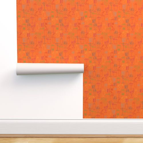 Cocktail Party Wallpaper - Orange Nectar - rolled on wall