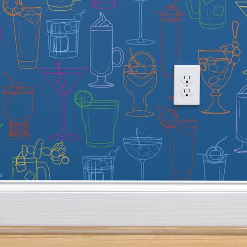 Cocktail Party Wallpaper - Marine Blue - on wall detail