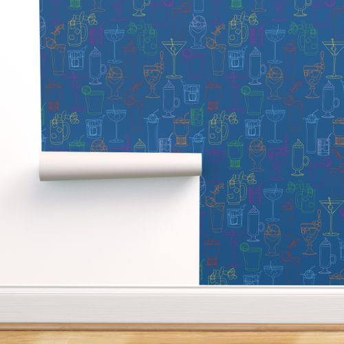 Cocktail Party Wallpaper - Marine Blue - rolled on wall