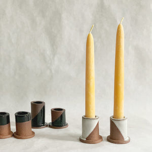 Load image into Gallery viewer, White Dip Candlestick Holder Set