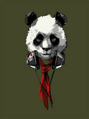 Evergreen colored shirt with Panda wearing a headset and a red tie