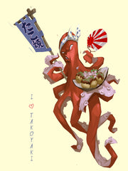 "Japanese angry looking Octopus serving Takoyaki holding a fan at a festival with ""I love takoyaki"" on the right side"