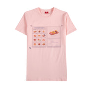 Pink shirt with picture of inventory of food and sweets. Sushi is selected with stats showing it has 10% of causing poison